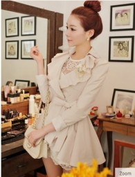 Beige Lotus Leaf Trim Lapel Cute Women Bandage Suits