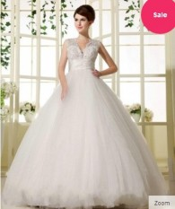 V Neckline Bridal Dress with Ball Gown Floor Length Wedding Dresses