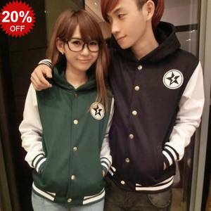 Baseball Jersey Embroidery Star Fleece Hooded Single Breasted Cotton Casual Jacket_DinoDirect