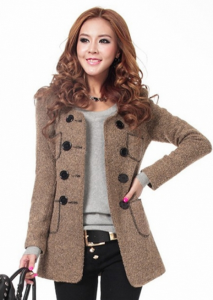 Cute Pockets Decoration Double Breasted Khaki Coats for Lady of Mart of China