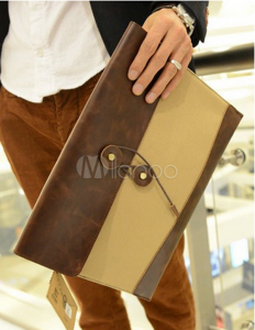 Daily Two-Tone PU Leather Clutch Bag For Man_Milanoo