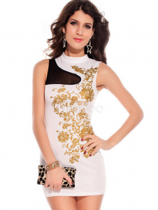 Floral Foil Print Bodycon Dress White_Milanoo