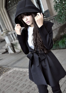 Vogue Black Hooded Collar Single Breasted Trench Coat_Mart of China