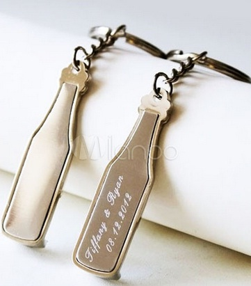 Beer Bottle Shaped Keyring
