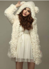 Cute Girls Bear Hat White Cashmere Winter Coat