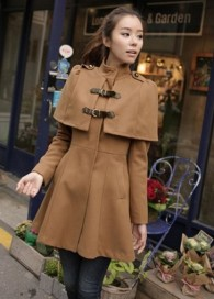 Elegant High Waist Cloak Pattern Khaki Flare Coats