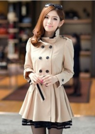 Latest Stand Collar Khaki Pleated Trench Coats with Lace