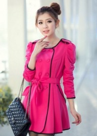 Lively Rose Round Neck Puff Sleeve Edging Trench Coats