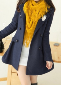 Long Style Navy Blue Coat with Double Breasted