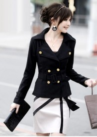 Vogue Long Sleeve Double Breasted Black Cotton Suits