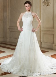 A-Line Princess Halter Court Train Tulle Wedding Dress With Lace Beadwork Sequins