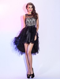 A-line Scoop Asymmetrical Lace And Tulle Cocktail Dress