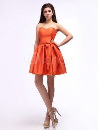 A-line Sweetheart Neck Bow Orange Taffeta Bridesmaid Dress