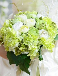 Beautiful Hunter Green Synthetic Hand-tied Wedding Bouquets