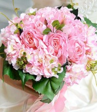 Beautiful Pink Synthetic Hand-tied Wedding Bouquets
