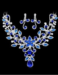 Blue Rhinestone Pierced Metal Attractive Jewelry Set For Bride