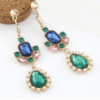 Blue and Green Gemstone Patchwork Drop Earring Set