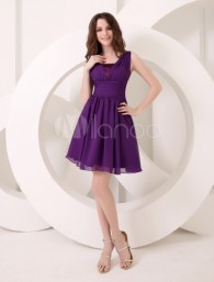 Charming Deep Purple A-line V-Neck Chiffon Dress