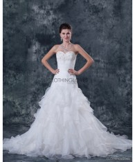 ClothingLove A-line Beaded Strapless Bridal Gown Wedding Dress