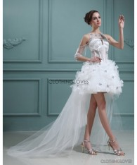 Organza Beaded Asymmetrical Short Bridal Gown Wedding Dress