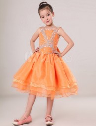 Cute Ball Gown Orange Organza Beading Flower Girl Dress