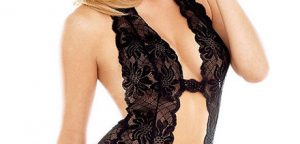 Enchanting Semi Sheer Black Lace Flouncing Design Halter Teddies