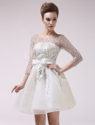 Ivory Jewel Neck Beading Organza Dress