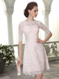 Lace Inner Pink Half Sleeves Sheath Grace Dress