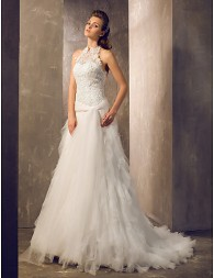 Column Halter Court Train Tulle And Lace Wedding Dress