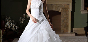 LightInABox_Ball Gown High Neck Chapel Train Organza Tiered Wedding Gown