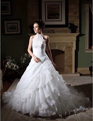 ball gown high neck chapel train organza tiered wedding