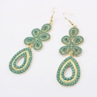 Ethnic Style Fashion Waterdrop Earring for Woman Green