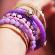 Dreamlike Purple Layered Bangles with Beading Design
