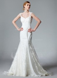 Mermaid V-neck Chapel Train Chiffon Lace Wedding Dress With Ruffle