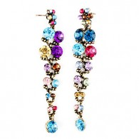 Colorful Corner Cut Gem Alloy Plating Resin Earrings