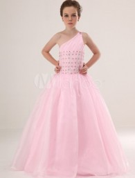 Pink A-line One-shoulder Satin Floor Length Flower Girl Dress