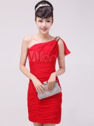 Red Sheath One-Shoulder Ruched Chiffon Cocktail Dress