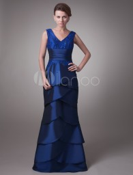 Royal blue V-Neck Ruffle Dress