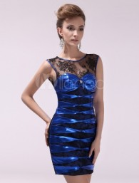 Sexy Royal Blue Sheath Jewel Neck Rhinestone Lace Cocktail Dress