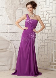 Sheath Grape Chiffon Mother of the Bride Dress