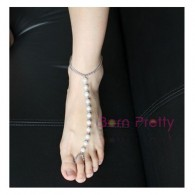 Ankle Bracelet Fashion Exaggerate Pearl Metal Chain Ring