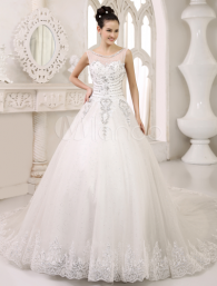 White A-line Scoop Neck Tiered Cathedral Train Bride's Wedding Dress_Milanoo