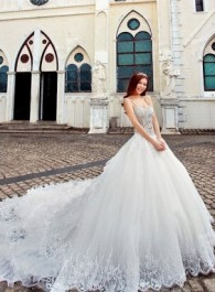 Amazing 2013 Gorgeous A-line Spaghetti Straps Lace and Tulle Beading Sequin Cathedral Train Wedding Dresses