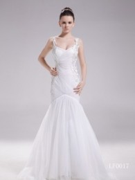 Gorgeous A-Line V-Neck Tulle and Lace Chapel Train Wedding Dress