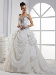 Gorgeous Empire Sweetheart Taffeta Chapel Train Wedding Dress