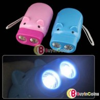 Wind Up Pig Hand Press LED Torch Flashlight No Battery