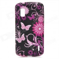 Protective Butterfly Flowers Pattern Silicone Case for LG E960 Nexus 4