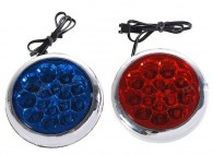 Police Style 15-LED Vehicle Red and  Blue Waterproof Strobe Lights