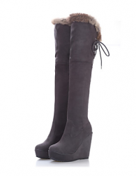 Suede Wedge Heel Platform Over The Knee Boots