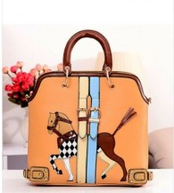 Adorable Horse Print Shoulder Bag with Zip Fly